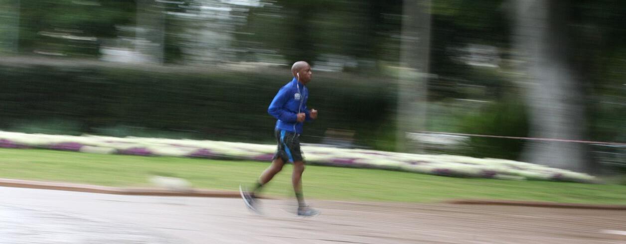 running through park